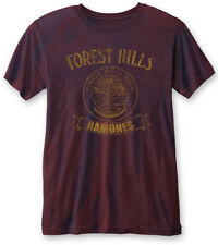RAMONES' Forest Hills VINTAGE' (Navy/Red) Burnout T-shirt - NUOVO E ORIGINALE