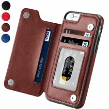 NEW Magnetic Leather Wallet Case Card Slot Shockproof Flip Cover iPhone Samsung