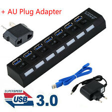 4/7Ports USB 3.0 Hub with On/Off Switch+EU AC Power Adapter for PC Laptop Lot PL