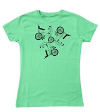 Ladies Raleigh Chopper Trio Pattern Retro 70's Bicycle Fitted T-Shirt S - 2XL
