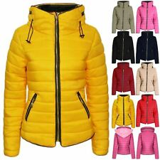 Womens Ladies Padded Quilted Puffer Bubble Zip Fur Collar Coat Jacket Size 8-14