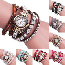 Women Girl Leather Wrap Around Bracelet Wrist Watch Crystal Analog Quartz Watch
