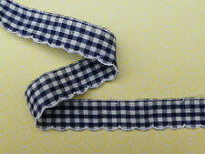 """12.5 METRES Navy Blue and White Gingham  Broderie Anglaise Lace Trim 1""""/2.5cm"""