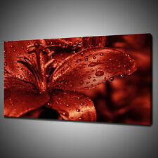 BEAUTIFUL RED LILY CANVAS PICTURE PRINT WALL HANGING ART HOME DECOR FREE P&P