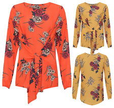 Women's Plus Size Long Sleeve Crepe Blossoms Print Tied Front Round Neck Top