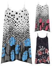 Womens Plus Floral Polka Dot Print Strappy Flared Swing Vest Ladies T-Dress Top