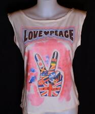 Bnwt French Connection Sleeveless Top T Shirt Vest Tank Top Love & Peace New