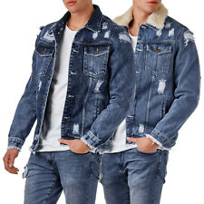 EightyFive EF3600 Herren Destroyed Denim Jacket Jeansjacke Teddyfell Blau S-XL