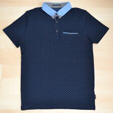 8a3ac2ec01a4d Auth Ted Baker Navy Dotted Polo Shirt w  Blue Dotted Contrast Collar Size 1-