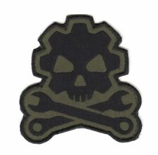 Army Tactical Morale Patch Biker Motorcycle Car Mechanic Wrench Gearwheel Skull