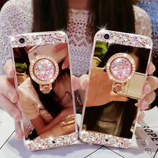 Luxury DIY Bling Diamond Crystal Ring Holder Stand Mirror Case Cover For iPhone