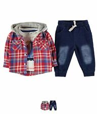 OFFERTA Crafted Three Piece Shirt Set Baby Boys Red Check