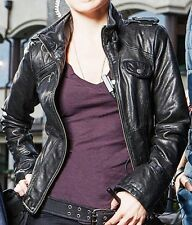 Womens Black Unreal Biker Real Leather Jacket