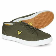 Lyle & Scott Teviot Canvas Trainers Olive Green White Ship Worldwide
