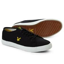 Lyle & Scott Teviot Canvas Trainers True Black FW210 White Ship Worldwide