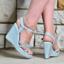WOMENS SILVER DIAMANTE WEDGE HEEL PLATFORM STRAPPY PEEP TOE SANDALS SHOES 3-8