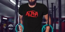 Alpha Mens Workout tshirt Muscle Tee Gym Fitness Clothing Bodybuilding Shirt