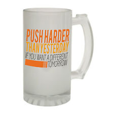 123t Frosted Glass Beer Stein Push Harder Training Gym Funny Novelty Birthday