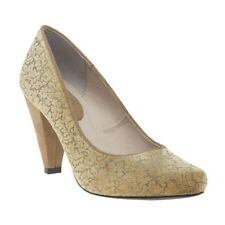 New Womens Ruby Shoo Gold Leah Microfibre Shoes Court Lace Up