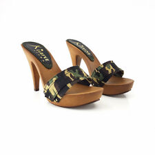Zoccoli CAMOUFLAGE- Made in Italy 35 al 42 - Tacco 11-K21301 CAM