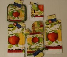 Kitchen Apple-Pear Theme Oven Mitts,Towels, Pot Holders,DishCloths Set Of 2
