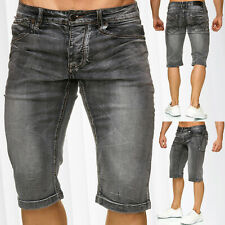 f0178c27c6c5 Mens Bermuda Jeans Shorts Stretch Denim Capri Vintage Light Seams Summer  Pants