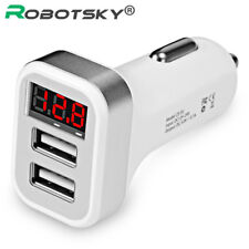Car Charger LCD Display Dual USB Port for iPhone iPad Samsung Fast Charger