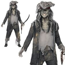 Zombie Mens Pirate Costume Ghost Ship Ghoul Halloween Fancy Dress Outfit UK