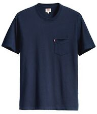 LEVIS Mens Setin Sunset Chest Pocket T-Shirt Print Top Tee Saturated Indigo Blue
