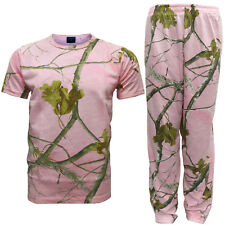 Unisex Pink Realtree Camo Baggy Gym Bottoms T-Shirt Duo Pack Top Trousers S-XL