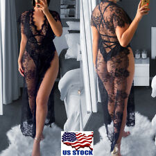 Womens Deep V Lingerie Lace Sheer Sexy Long Sleepwear Nightgown Robe G-String US