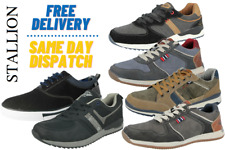 Mens Stallion Faux Leather Smart Lace Up Low Top Sneakers Pumps Trainers Shoes