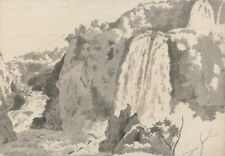 Rocky Landscape With Waterfalls Joseph Wright Derby  Vintage Art Poster/ Photo