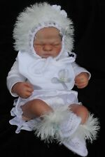 hand knitted baby /reborn set hat booties bib, white and silver nb  0/3m
