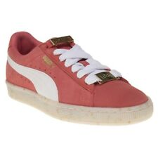 New Womens Puma Red Pink Suede Classic Bboy Fabulous Trainers Court Lace Up