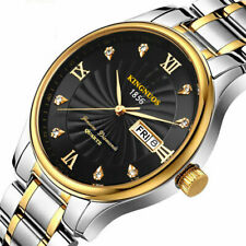 Luxury Golden Stainless Steel Wrist Watch Mens Business Xmas Gifts For Him Son