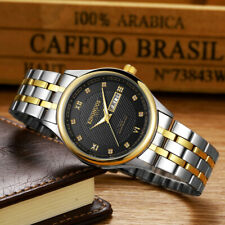 Luxury Gold Quartz Watch Mens Golden Stainless Steel Xmas Gifts For Him Husband