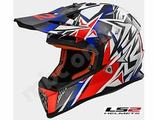 Casque LS2 Fast MX437 Strong Blanc Rouge Blue