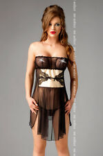 ME SEDUCE Goldie Luxury Decorative Sheer Strapless Chemise and Matching G-String