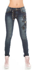 Curvy Ladies Plus Size Pedal Pusher style faded Jeans embroidered UK 10-18