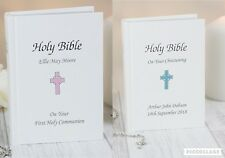 Personalised Blue Pink Holy Bible Christening Baptism Holy Communion New Born
