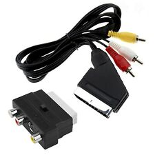 1.5m SCART to 3 RCA/Phono Composite AV Audio Video TV/DVD Male Cable Lead Switch