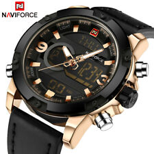 NAVIFORCE Luxury Brand Men Analog Digital Leather Sports Watches Gifts For Him