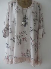 MLX Italy womens pink boho lace trim floral long loose fit tunic top size 12-18