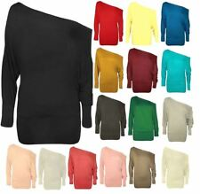 New Ladies Batwing Top Long Sleeves Off Shoulder Baggy Slouch Plus Size*BTw