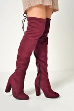 WOMENS LADIES THIGH HIGH BOOTS OVER THE KNEE PARTY STRETCH BLOCK MID HEEL
