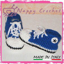 CROCHET BABY SHOES SCARPINE A UNCINETTO ALL STAR CONVERSE SNEAKERS BLU ELETTRICO