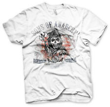 Official Licensed Sons Of Anarchy Distressed Flag Men's T-Shirt S-XXL White