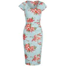 1940s Cap Sleeve Turquoise Floral Pin Up Wiggle Bodycon Dress