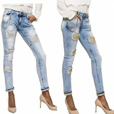 Ladies Skinny Jeans with net chain decoration Gold Silver light blue UK 6 -14